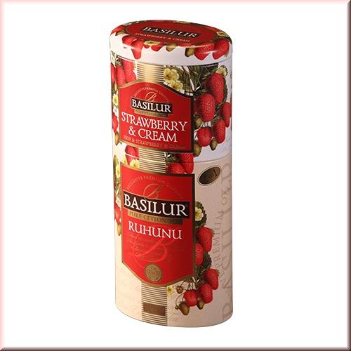 Чай Basilur 125г Цветы и фрукты  Рухуну + клубника  2 в 1 ж/б