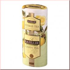 Чай Basilur 125г Цветы и фрукты  Зеленый + Цитрус  зел 2 в 1 ж/б