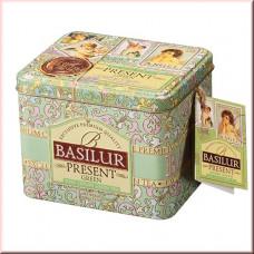 Чай Basilur 100г  Подарок Зеленый подарок ж/б