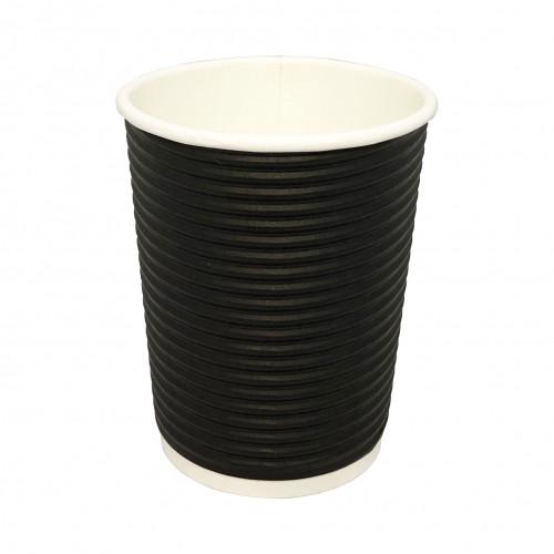 Стакан   картонный   350мл  ГОФРА (black)