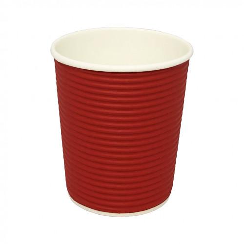 Стакан   картонный   350мл  ГОФРА (red)