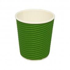 Стакан   картонный   185мл  ГОФРА (green)