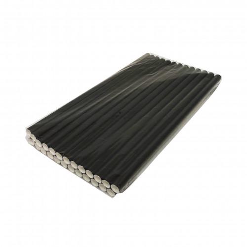 Бумажная трубочка (25 шт в упак) Толстая черная