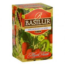 Чай Basilur картон пакет В. фрукты  Клубника+Киви 25 пак (саше)