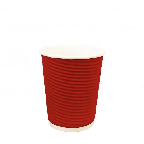Стакан   картонный   270мл  ГОФРА (red)