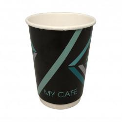 Стакан     Двухслойный  210мл  (My cafe) черный  (20шт рукав)